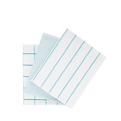 Debenhams - Set of three blue tea towels