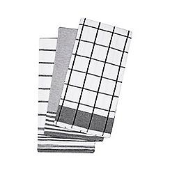 Debenhams - Set of three black tea towels
