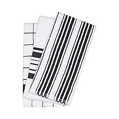 Debenhams - Set of three black textured tea towels