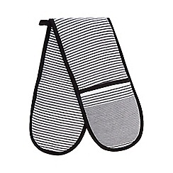 Debenhams - Black and white striped print oven gloves