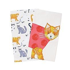 Debenhams - Set of two multi-coloured cat printed tea towels