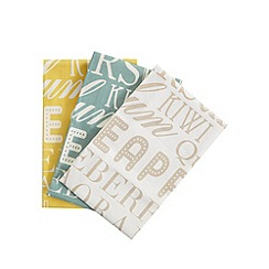 Debenhams - Set of three assorted typographic fruit print tea towels