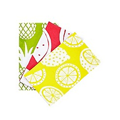 Debenhams - Set of three assorted tropical fruit print tea towels