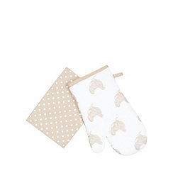 Debenhams - Beige chicken print mitt and towel set