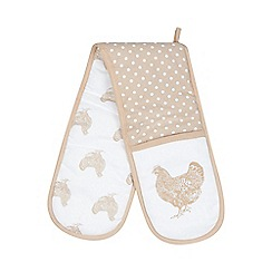 Debenhams - Beige spotted chicken print double oven mitt