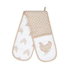 Debenhams - Beige spotted chicken print double oven mitt