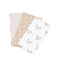 Debenhams - Pack of three beige chicken print tea towels