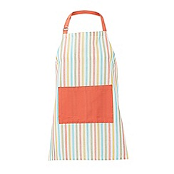Debenhams - White and coral striped apron