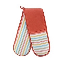 Debenhams - Coral striped oven glove