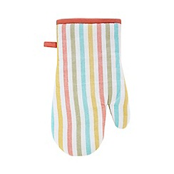 Debenhams - Coral striped oven mitt