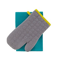 Debenhams - Turquoise tea towel and grey oven mitt set