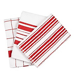 Debenhams - Set of three red and white crossed tea towels