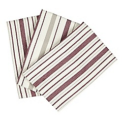 Debenhams - Set of three purple and cream stripe textured tea towels