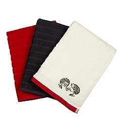 At home with Ashley Thomas - Set of three assorted woodland embroidered hand towels