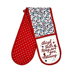 At home with Ashley Thomas - Red Christmas print oven gloves