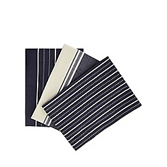J by Jasper Conran - Set of three navy striped tea towels