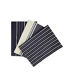 J by Jasper Conran - Set of three navy striped tea towels