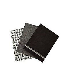 RJR.John Rocha - Set of three black geometric print tea towels