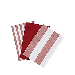 Home Collection - Set of three red plain and striped tea towels