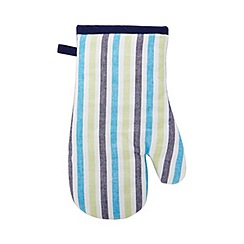 Home Collection - Blue striped oven mittens