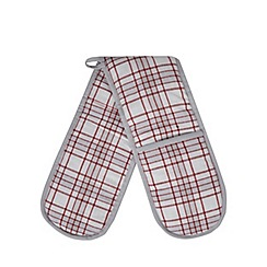 Home Collection - White and red checked double oven gloves