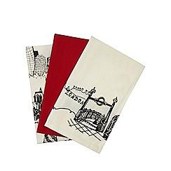 Ben de Lisi Home - Set of three plain red and cream city print tea towels