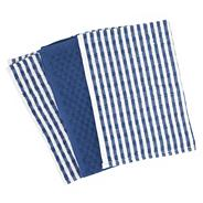 Cotton set of three blue 'Terry' tea towels