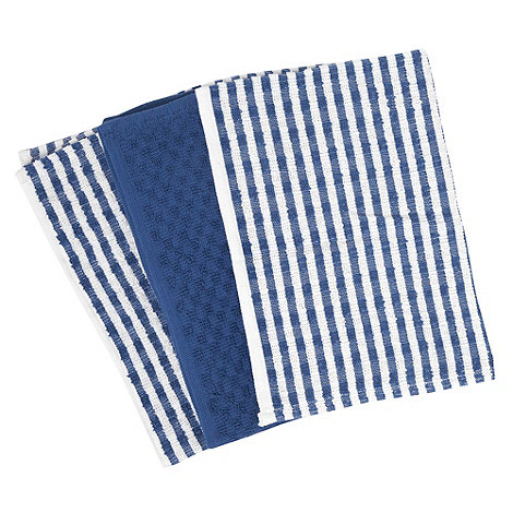 Home Collection Basics - Cotton set of three blue +Terry+ tea towels
