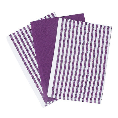 Home Collection Basics - Cotton set of three purple +Terry+ tea towels