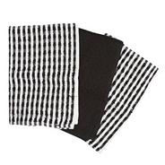 Cotton set of three black 'Terry' tea towels