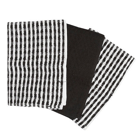 Home Collection Basics - Cotton set of three black +Terry+ tea towels
