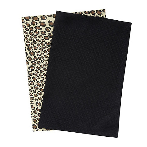 Debenhams - Set of two black animal tea towels