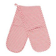 Cotton red gingham double oven gloves