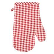 Red gingham checked oven glove