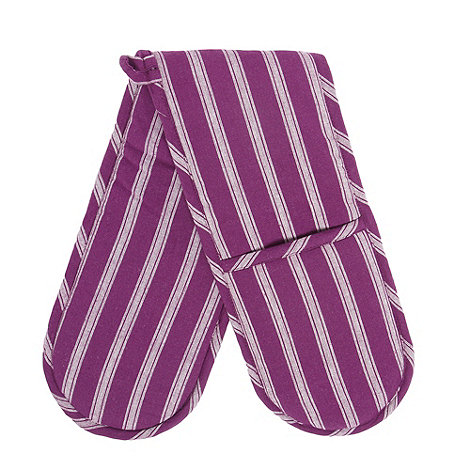 Home Collection Basics - Cotton purple striped double oven gloves