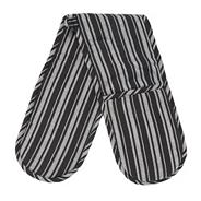 Cotton black striped double oven gloves