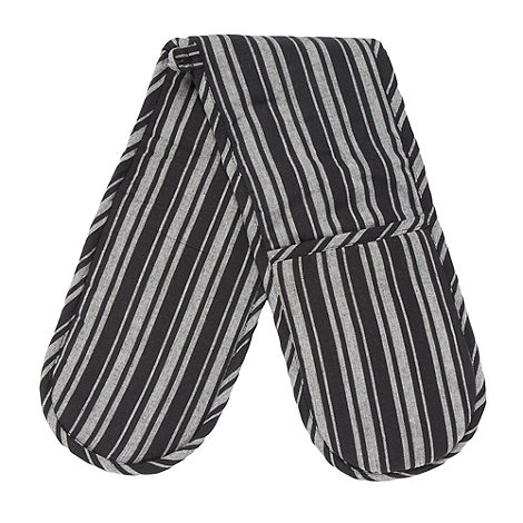 Home Collection Basics - Cotton black striped double oven gloves