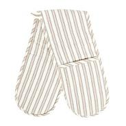 Cotton natural striped double oven gloves