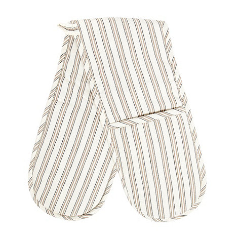 Home Collection Basics - Cotton natural striped double oven gloves