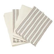 Cotton set of four natural striped tea towels