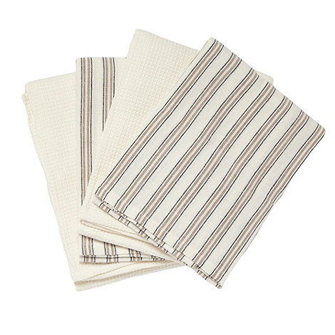 Home Collection Basics - Cotton set of four natural striped tea towels