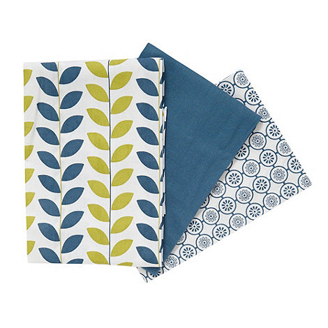 Debenhams - Set of three blue floral and leaf tea towels