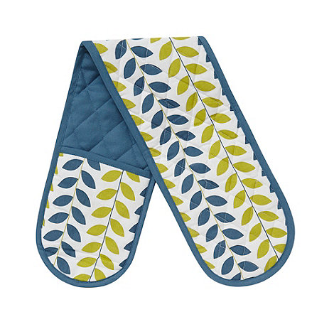 Debenhams - Blue leaf double oven gloves