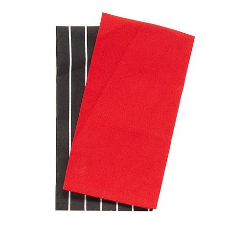 Debenhams - Set of two black and white striped tea towels