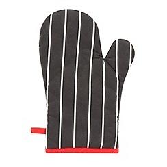 Debenhams - Black stripe pattern oven mitt