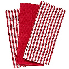 Home Collection Basics - Set of three red striped tea towels