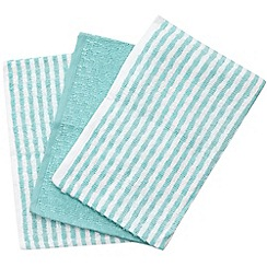 Home Collection Basics - Set of three dark turquoise plain and striped cotton tea towels