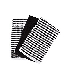 Home Collection Basics - Pack of three black and white striped tea towels
