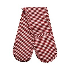 Home Collection Basics - Red cotton gingham double oven gloves