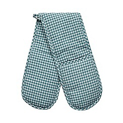 Home Collection Basics - Turquoise gingham oven gloves